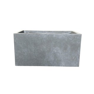 Kante Lightweight Concrete Modern Long Low Outdoor Planter, Small, 23 Inch Long, Slate Gray