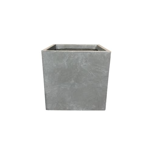 Kante Lightweight Concrete Modern Square Outdoor Planter, 16 Inch Tall, Slate Gray