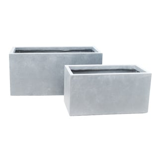Kante Lightweight Concrete Modern Long Low Granite Outdoor Planter, Set of 2, 31 and 23 Inch Long, Slate Gray