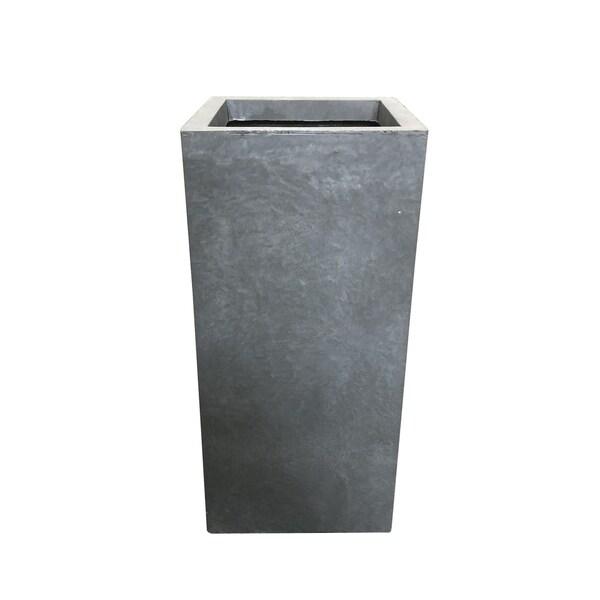 Kante Lightweight Concrete Modern Rectangle Outdoor Planter, 20 Inch Tall, Slate Gray