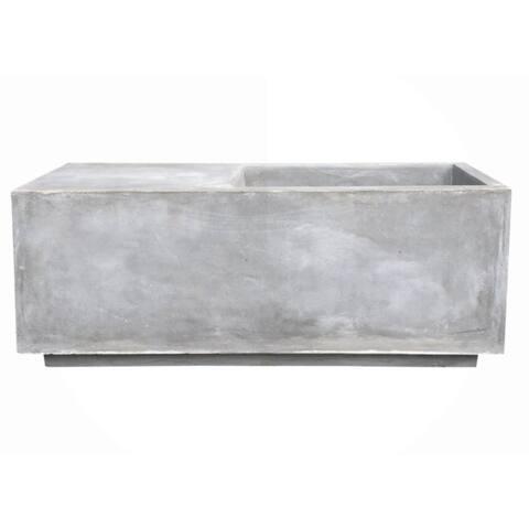Kante Lightweight Concrete Modern Square Outdoor Planter, 37.4 Inch Long, Natural Concrete