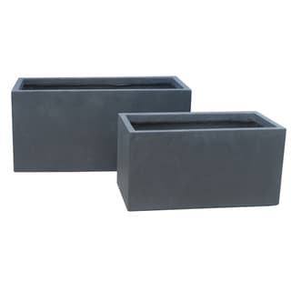 Kante Lightweight Concrete Modern Low Granite Outdoor Planter, Set of 2, 31 and 23 Inch Long, Charcoal