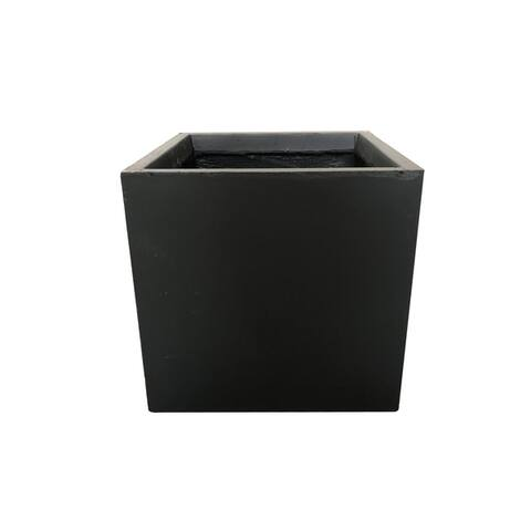 Kante Lightweight Concrete Modern Square Outdoor Planter, 12 Inch Tall, Charcoal