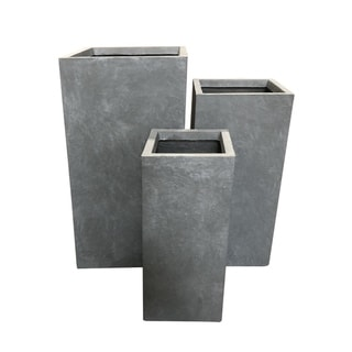 Kante Lightweight Concrete Modern Tapered Rectangle Outdoor Planter, Set of 3, 28 Inch Tall, Slate Gray