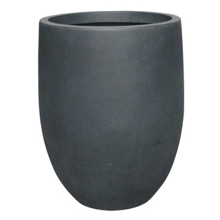 Kante Lightweight Concrete Outdoor Round Tall Planter, 21.7 Inch Tall, Charcoal