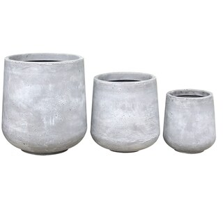 Kante Modern Lightweight Footed Tulip Outdoor Round Planter, Set of 3, 17.3 Inch Tall, Natural Concrete
