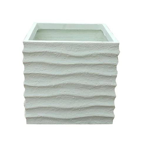 Kante Lightweight Retro Wave Textured Square Outdoor Planter, Small, 15 Inch Tall, Pure White