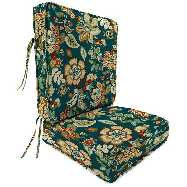 2 Piece Deep Seat Chair Cushion in Telfair Peacock