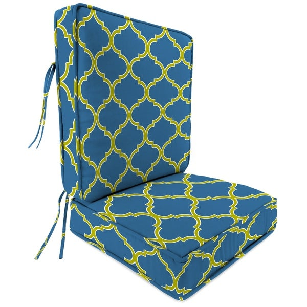 2 Piece Deep Seat Chair Cushion in Irondaze Cobalt