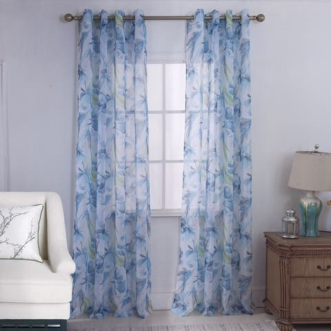 Destin Floral Printed Doily Single Grommet Curtain Panel - (1x) 54 x 90 in.
