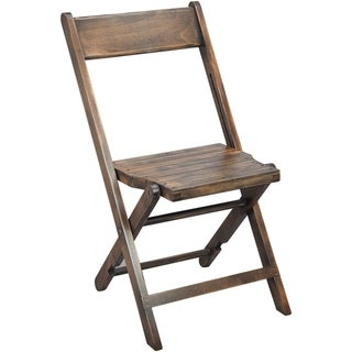 2-Pack Slatted Wood Folding Wedding Chair - Antique Black