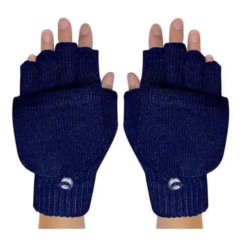 Winter Soft Knit Fingerless Funtional Flap Mitten Gloves