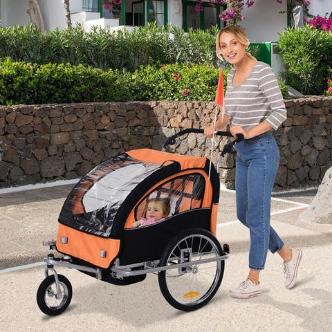 Aosom Elite 2-Seat Kid Bicycle Trailer / Jogger with Windows and Canopy, Includes Coupler Attachment, Orange / Black