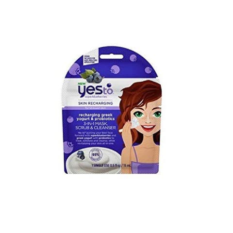 Yes to Superblueberries Skin Recharging for Stressed Skin with Greek Yogurt and Probiotics 3 in 1 Mask, Scrub and Cleanser