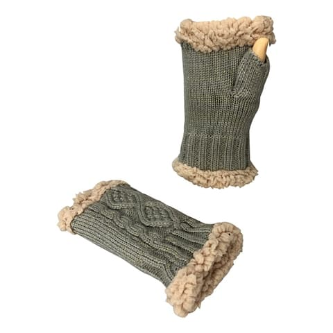 Women's Classic Cable Knitted Hand Warmer Gloves with Sherpa Lining