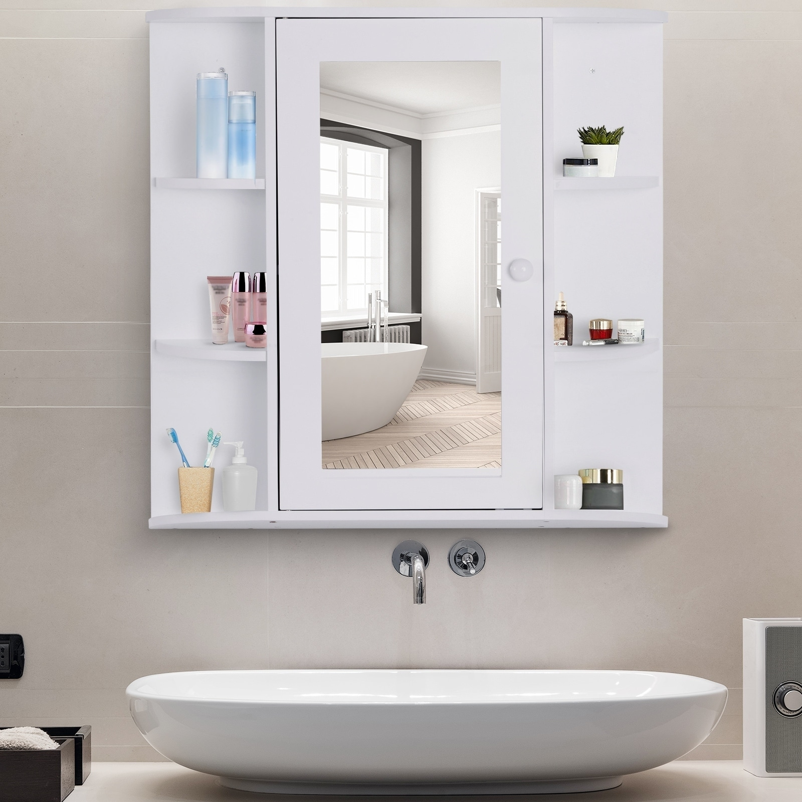 Homcom Over The Sink Bathroom Storage Organizer Cabinet With Mirrored Door And Multiple Shelves White Overstock 30695539