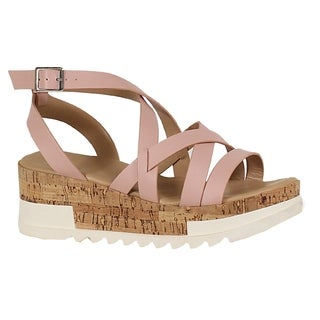 YOKI-BRENDA-55 Women's Flat Form Sandal With Leather Straps