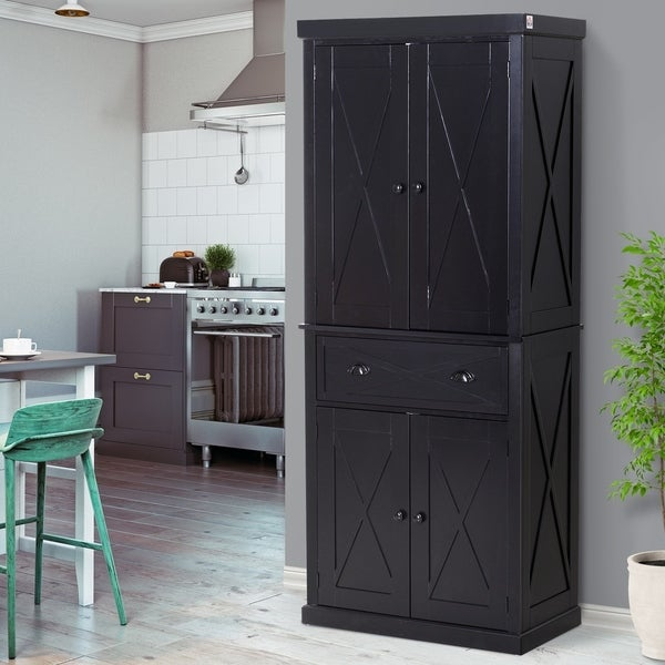 Woodworking Plans Kitchen Pantry: Shop Tall Wood Kitchen Storage Cabinet With Adjustable