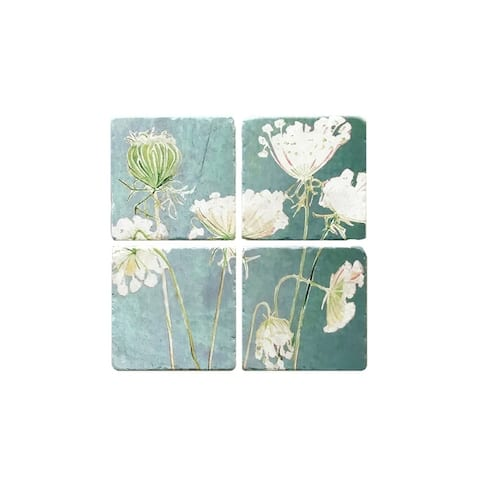 Handmade Queen Anne's Lace on Teal Coaster Set (United Kingdom)