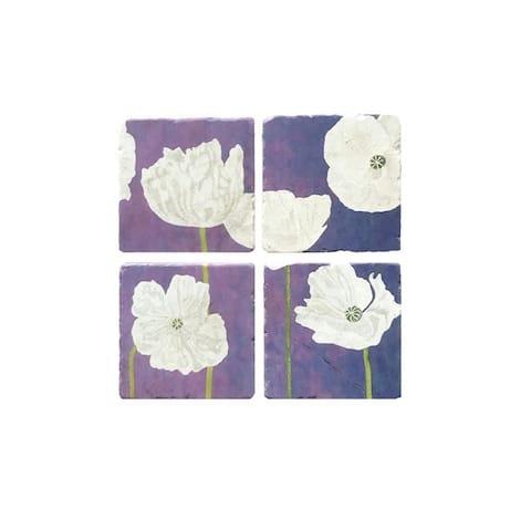 Handmade White Poppies on Violet Coaster Set (United Kingdom)