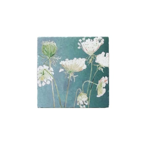 Handmade Queen Anne's Lace on Teal Trivet (United Kingdom)