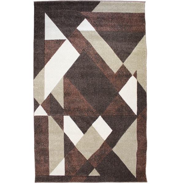 Natural Geo Jasmine Modern Geometric Abstract Chocolate Brown Area Rug Overstock 30696876