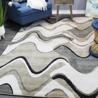 Natural Geo Jasmine Modern Wavy Abstract Ivory/Gray Area Rug