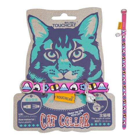Touchcat Bell-Chime Designer Rubberized Cat Collar w/ Stainless Steel Hooks