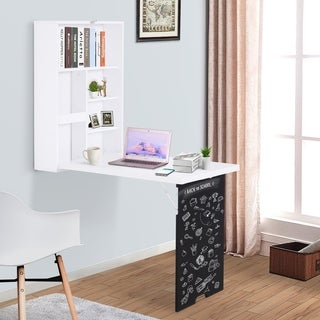 HOMCOM Wall Mounted Foldable Desk for Writing or Computer, with a Blackboard for Notes, Book Storage, and Space Saving