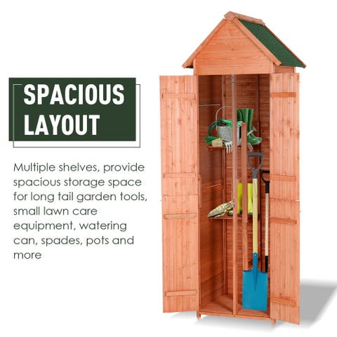 Outsunny Solid Pine Wood Lockable 4-Door Storage Shed with Shelving for Your Backyard Garden Organization Needs