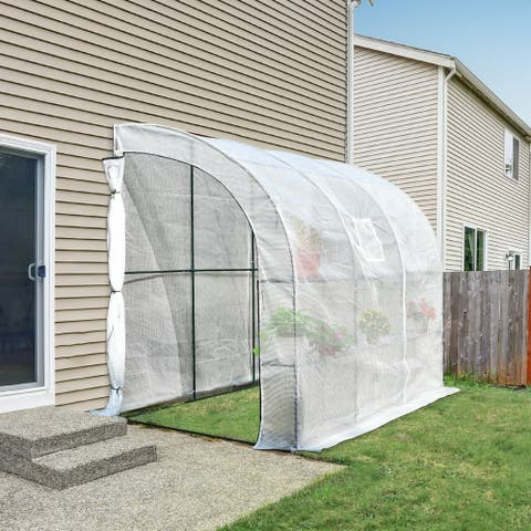 Outsunny Outdoor Walk-In Tunnel Wall Gardening Greenhouse with Windows and Doors, 2 Tiers 6 Wired Shelves, 10' L x 5'W x 7'H