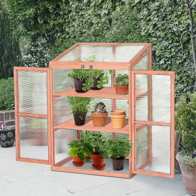Outsunny Garden Planter Box Greenhouse with Real Fir Wood Construction Polycarbonate Side Panels for Warmth & Opening Roof