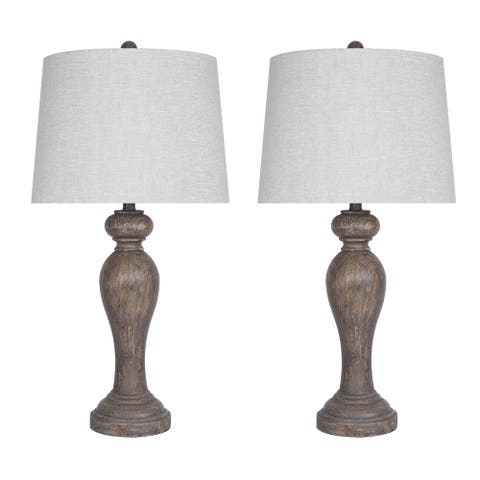 "32"" Opal Grey Poly Table Lamp Set"