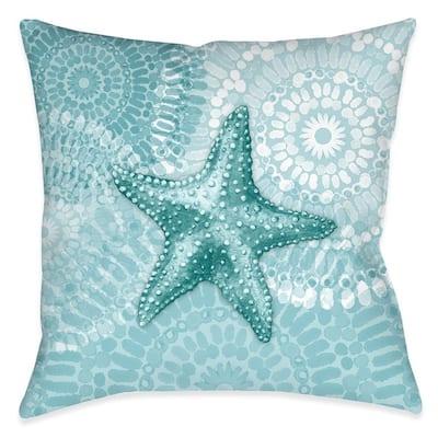 Sea Life Medallion Starfish Outdoor Decorative Pillow
