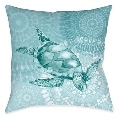 Sea Life Medallion Turtle Outdoor Decorative Pillow