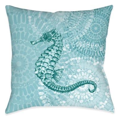 Sea Life Medallion Seahorse Outdoor Decorative Pillow