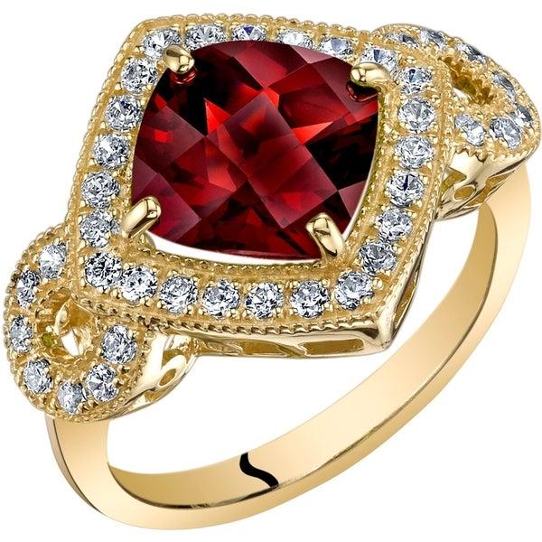Oravo 14k Yellow Gold Natural Garnet Cushion Cut Ring 2.50 carat. Opens flyout.