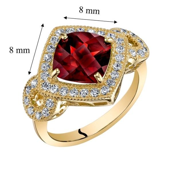 Oravo 14k Yellow Gold Natural Garnet Cushion Cut Ring 2.50 carat