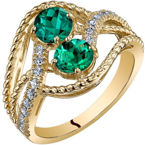 Oravo 14k Yellow Gold Two Stone Created Emerald Ring 1.00 carat