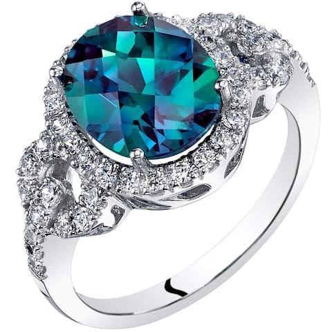 Oravo 14k White Gold Created Alexandrite Ring Oval Cut 3.25 carat