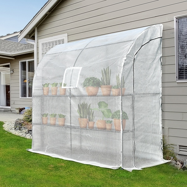 Outdoor Walk-In Tunnel Wall Garden Greenhouse with Windows and Doors, 2 Tiers 4 Wired Shelves,6.6' L x 3.3' W x 7' H. Opens flyout.