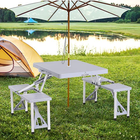 """Outsunny Picnic Table Chair 4-Seat Foldable Patio Furniture with 1"""" Umbrella Hole for Quick Outdoor Gatherings & Picnics"""