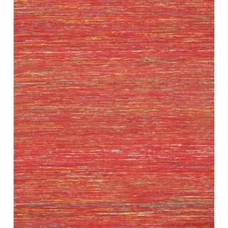 Pasargad Red Sari-Silk Modern Flat Weave Rug - 3' X 5' - 3' x 5'