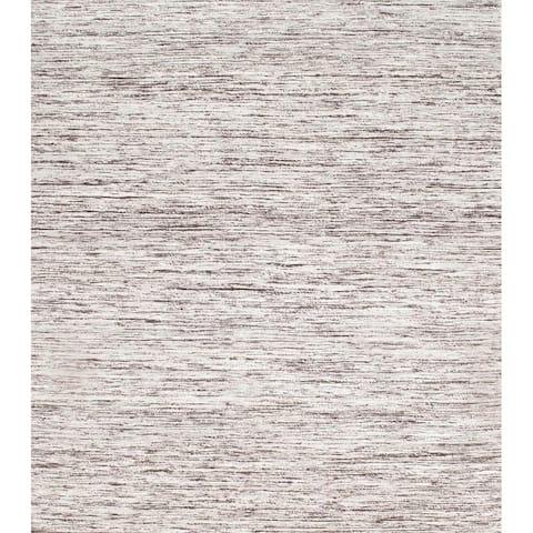 Pasargad Brown Ivory Sari-Silk Modern Flat Weave Rug - 2' X 3' - 2' x 3' - 2' x 3'