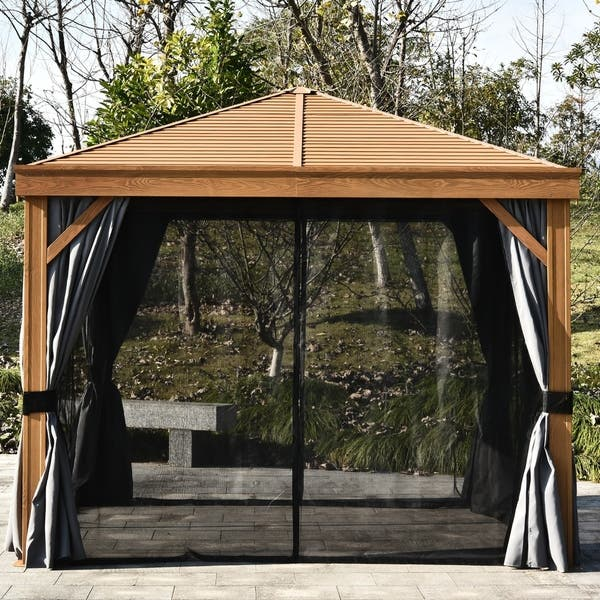 Shop Outsunny 10 X 10 Backyard Steel Hardtop Canopy Gazebo With Screened Curtains Sling Netting Strong Frame Huge Design Overstock 30700356