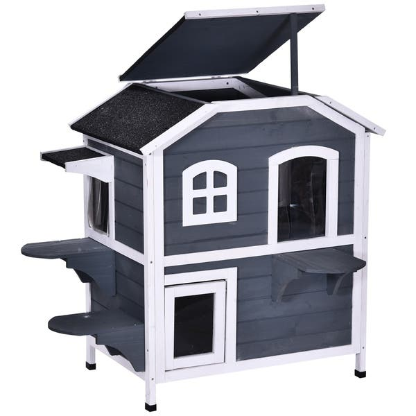 Pawhut Solid Wood Cat House 2 Stories With Indoor Lounge Space Indoor Outdoor And Fun Entrances Catio On Sale Overstock 30700889