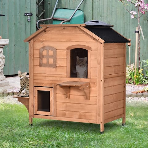PawHut Solid Wood Cat House 2-Stories, with Indoor Lounge Space, Indoor/Outdoor, and Fun Entrances, Catio