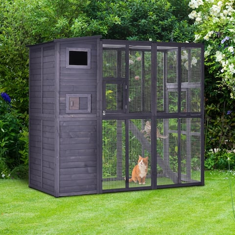 PawHut Large Wooden Outdoor Cat House with Large Run for Play, Catio for Lounging, and a Condo Area for Sleeping/Living
