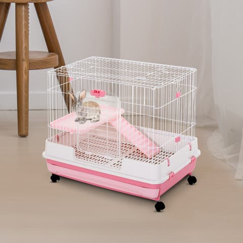 "PawHut Indoor Small Animal Habitat Cage with Wheels, Perfect for Hamsters, Gerbils, and Exotic Rodents, Pink, 32"" L"
