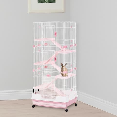 """PawHut 6-Level Rabbit or Small Animal Hutch, Perfect for Your Child's Furry Family Member, 57.5"""" H - 32""""L x 20.75""""W x 57.5""""H"""